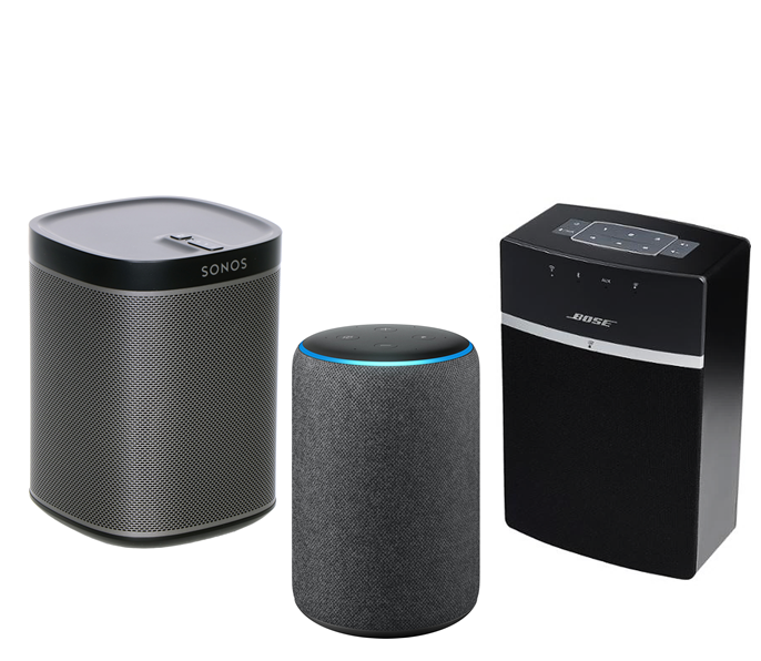 Image of 3 smart speakers - Sonos, Bose and Alexa