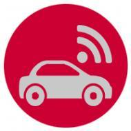 Icon of car with wifi symbol